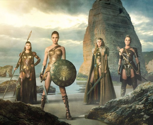 Lisa Kongsli as Menalippe (far left); Gal Gadot as Princess Diana (left); Connie Nielsen as Queen Hippolyta (right); Robin Wright as General Antiope (far right)