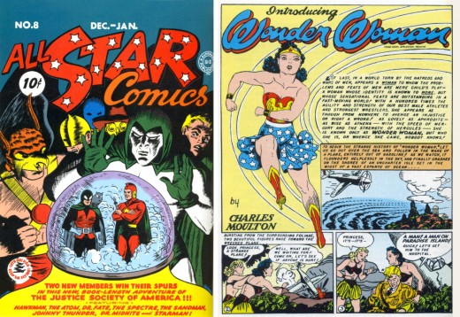 Wonder Woman's first print appearance in All Star Comics #8 in 1941.