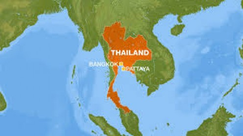 A map view of Thailand.