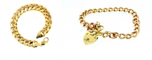 gold curb bracelets