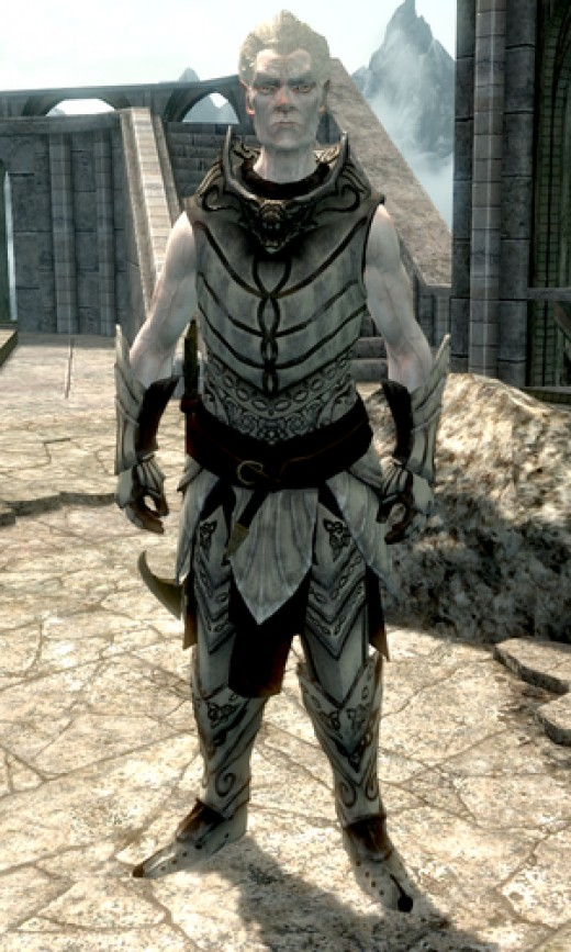 Knight-Paladin Gelebor, a Snow Elf who has not been corrupted into what most commonly refer to as the Falmer.