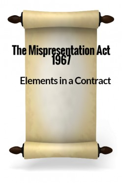 Elements in a Contract XX - The Misrepresentation Act 1967