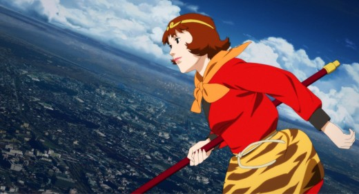 Paprika surfing on clouds over a city dream world.
