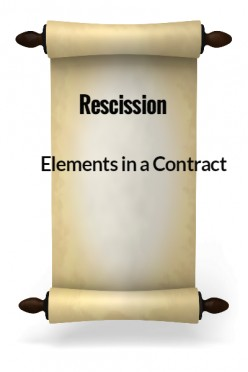 Elements in a Contract XXVII - Rescission