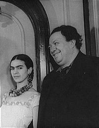 Muralist Diego Riviera and painter wife, Kahlo.  Morrow commisioned murals in Cuernavaca