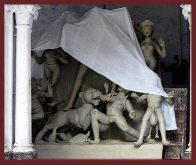 At the sculptor's den, Sudder Street, Calcutta