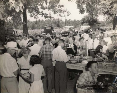 All day singing dinner  on the grounds were happening as early as 1940.