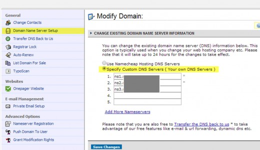 screenshot while setting the DNS on one of my domains at Namecheap