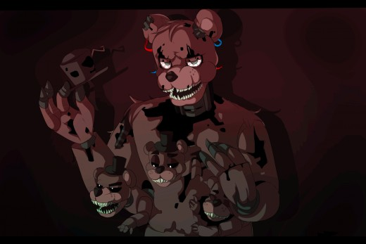 Freddy with his nasty spawns (Freddles).