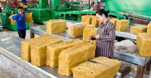 Once extracted, the rubber is produced in several factories in Cambodia.