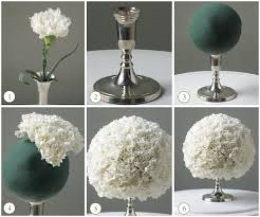 DIY centerpiece. This look works with both natural and silk flowers.