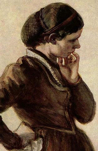 A painting of a woman wearing a snood by Adolf von Menzel.