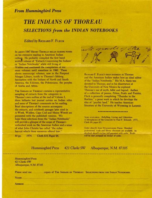 Flyer of Hummingbird Press book (1974) still available on Amazon