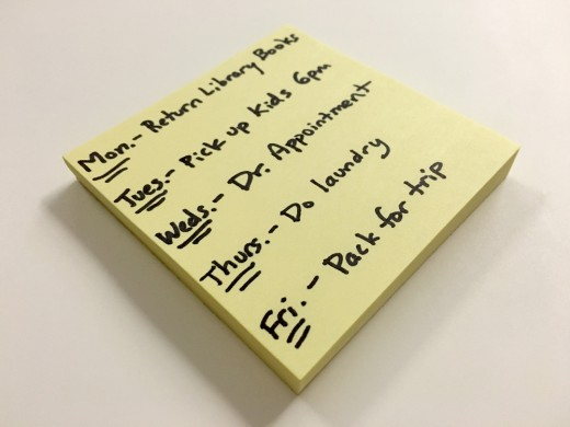 Sticky note of things to do.