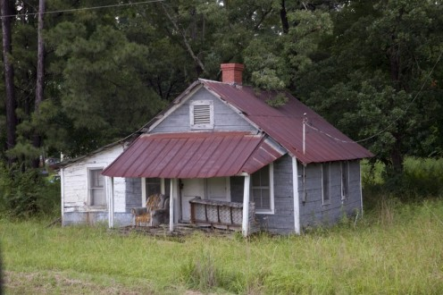 Historic house with tin roof in Eutaw, Alabama.