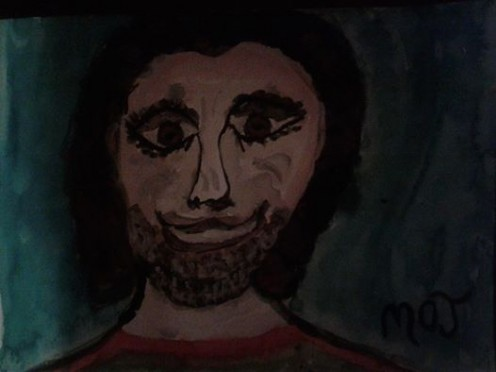 watercolor cave man