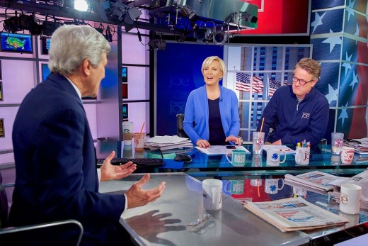 Former Secretary of State John Kerry with Mika Brzezinski and Joe Scarborough, on the set of 'Morning Joe.'
