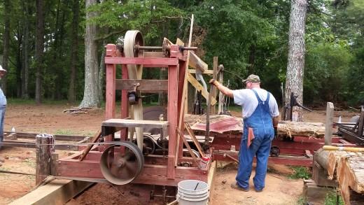 The steam powered sawmill!