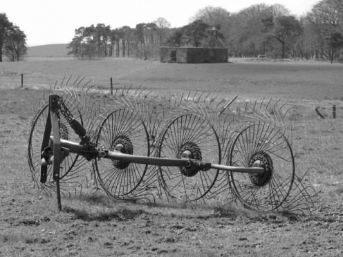 Hay rake at Fordmouth. This is  considered antique farm machinery.