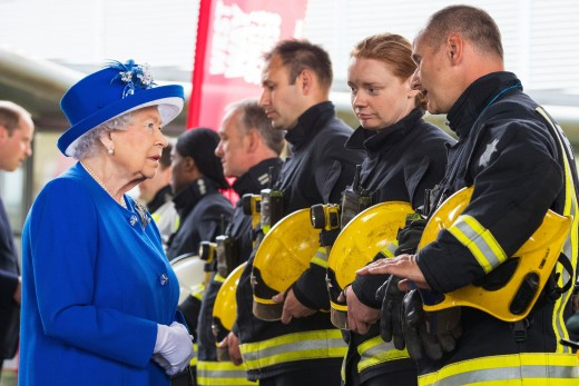 Brave firefighters speaking with the Queen after the tragedy at Grenfell Tower.