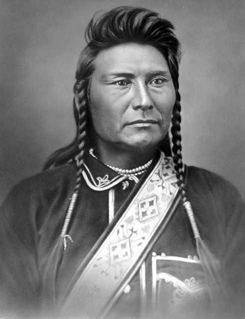 Photo of Joseph (also known as Hin-mah-too-yah-lat-kekt) taken in November 1877.  He described how his tribe exchanged horses for guns and tobacco with Lewis and Clark.