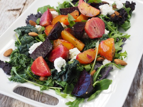 A beet salad with cheese and other vegetables is a healthier alternative for lunch.