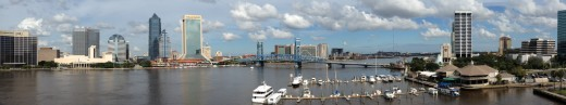 A panorama view of downtown Jacksonville from the Acosta Bridge.  Jacksonville is the nearest major city to Gainesville, just over an hour's drive away.