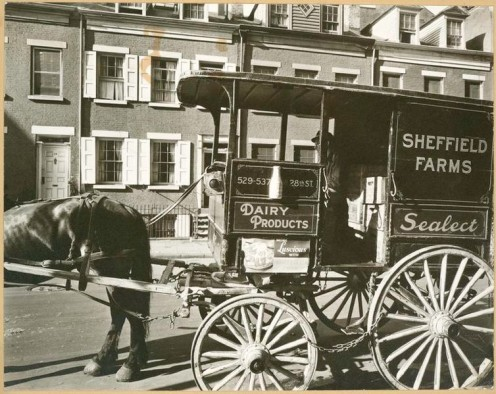 Milk wagon and old houses, Grove Street, No. 4-10, Manhattan.