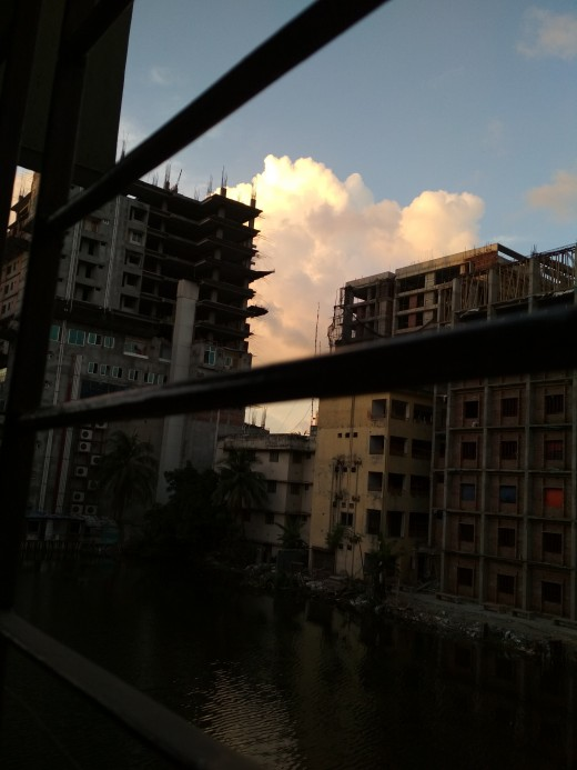 A balcony view during sunset