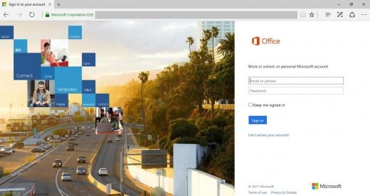 "Click ""Sign In"" in the upper right corner of the screen. Enter the email associated with your Office 365 account."