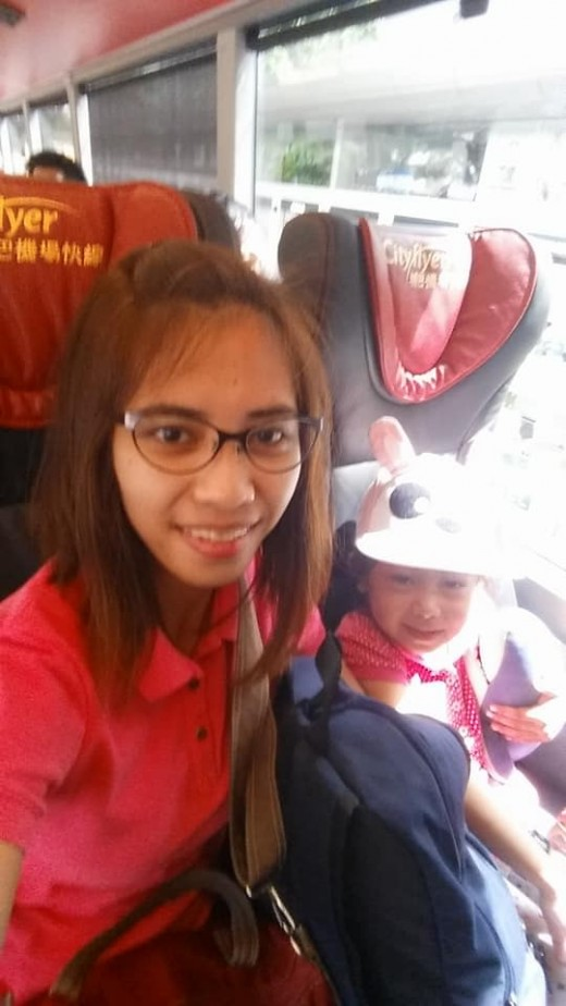 at the bus going to HK international Airport