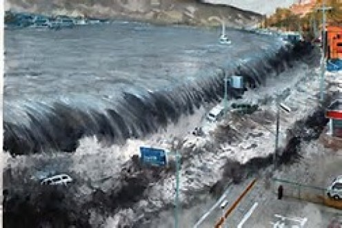 A Tsunami AKA tidal wave starts under the ocean and can be caused by Nuclear explosions, earthquakes, landslides and more.