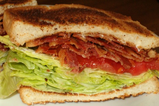 A Bacon, Lettuce, and Tomato sandwich on toast