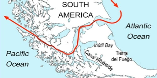 Magellan's 300 mile passage through the tip of South America
