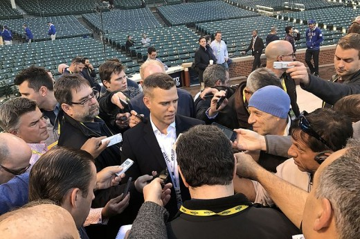 Theo Epstein, Cubs President of Operations,  talks to reporters before NLCS Game 6.