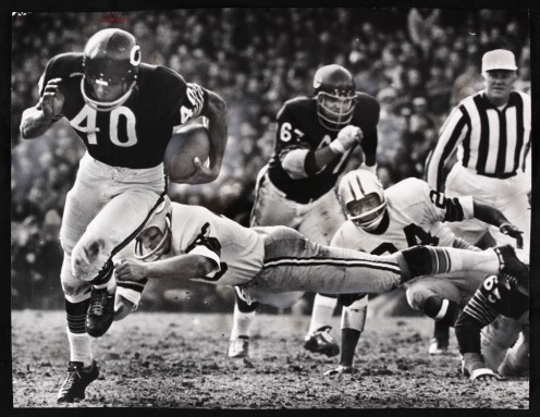 Gale Sayers', Chicago Bears running back 1967 heads for paydirt.