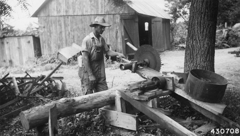 Swing saw for cutting firewood built  by George Springer.