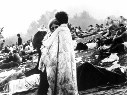 This iconic photo taken at Woodstock was taken in a spur. The couple was asked if they'd pose for a picture, they wrapped a blanket around themselves. The couple are still together to this day.
