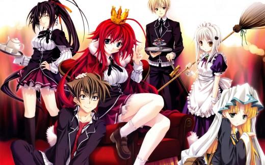 This image contains the characters Issei Hyoudou, Rias Gremory, Akeno Himejima, Kiba Yuuto, Konako Toujou and Asia Argento