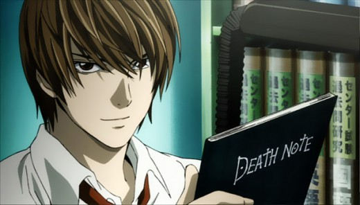 This image contains the main character Light Yagami holding the death note.