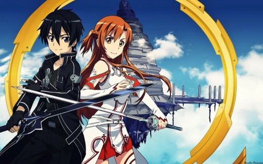 this image contains Kirito (Out of game name Kazuto Kirigiya) and Asuna (Out of game name Asuna Yuuki)
