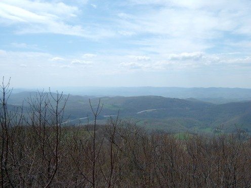 View looking southwest from the observation tower at w: Bickle Knob in w:Randolph County, West Virginia with Cheat Mountain in the distance.