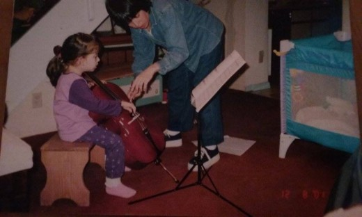 "This is my mom and I around 2001 or so, teaching me ""open strings"""