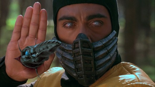 A shot featuring Scorpion from The Mortal Kombat movie.