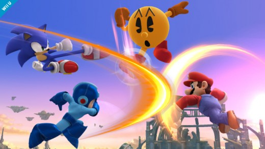 In clockwise order: Sonic, Pac-Man, Mario and Megaman