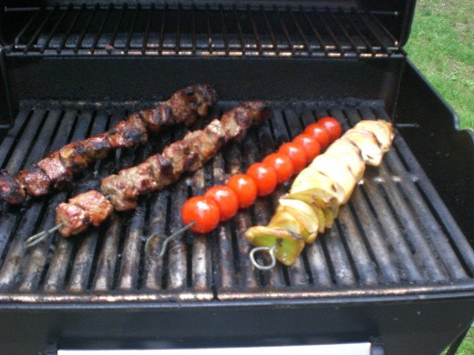 On the grill, this is half the veggies.