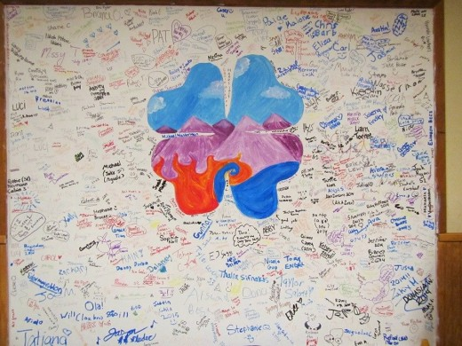 Signatures of campers and staff from the 2014 camp season. The clover stands for 4H (head,heart,hands,health) In the center, we come from the mountains, fire, and lake. It is the symbolic song for LGC 4H