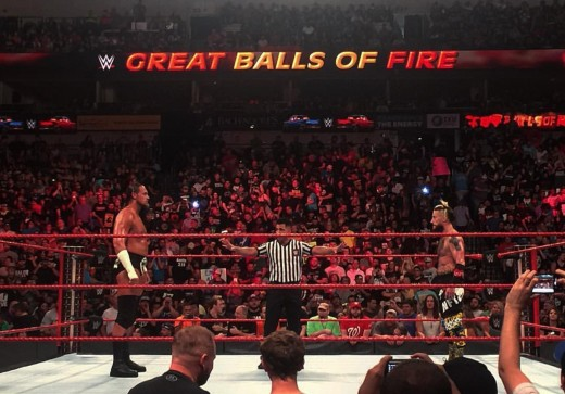 Former friends Big Cass and Enzo Amore clash. Photo: WWE