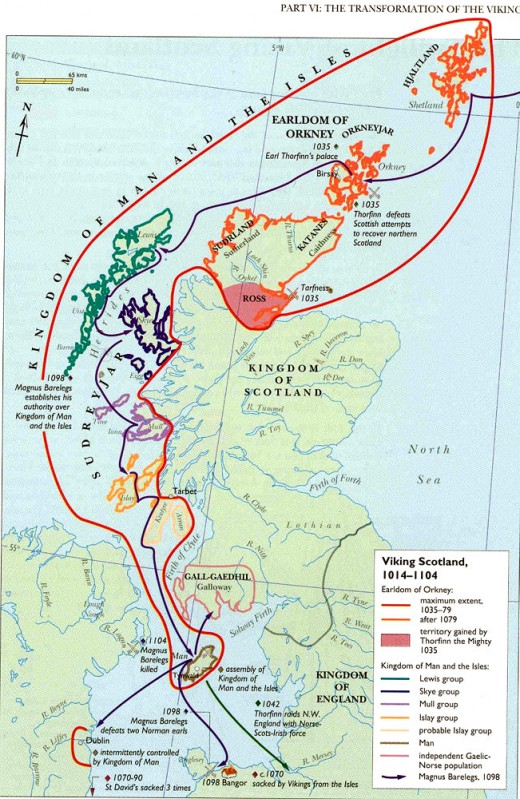 The threat from the north became acute in the 11th Century. It became a threat from the west. With Brian Boru's victory at Clontarf near Dublin in 1014 the Norsemen were uprooted. Principal targets were the Isle of Man, Jorvik and western Scotland