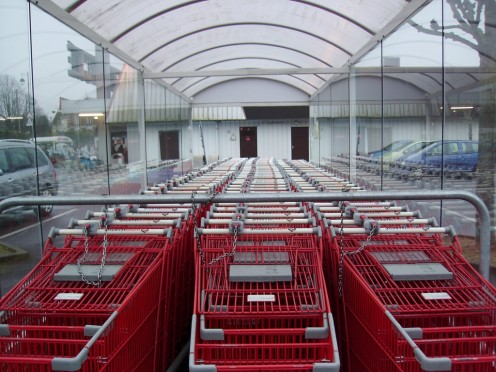 Handy Grocery Store Tip: Always keep your grocery carts spotless for these things are what grocery customers see the most. Got that?